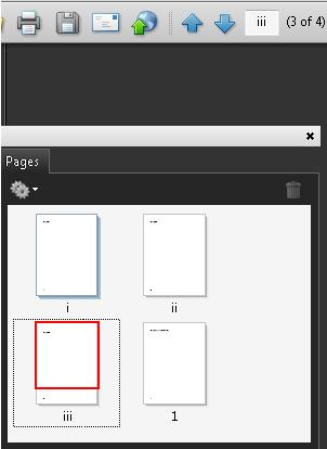 The Pages panel in Adobe Acrobat Pro showing pages numbered i, ii, iii, 1. The Page Navigation toolbar shows iii for the third page. The relative page location is also displayed as '(3 of 4).'
