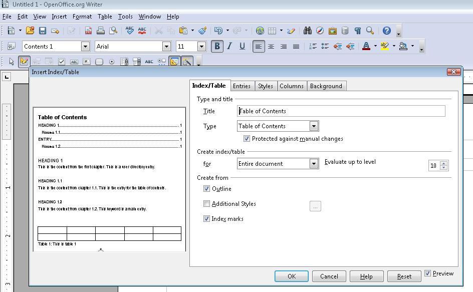 Image of the Insert Index/Table dialog in OpenOffice.org Writer.