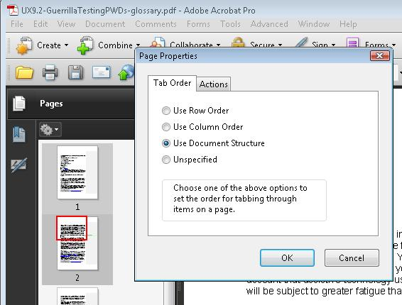 Page properties in Adobe Acrobat Professional. The choices are Use Row Order, Use Column Order, Use Document Structure, Unspecified. Use Document Structure is selected. This is also the default.