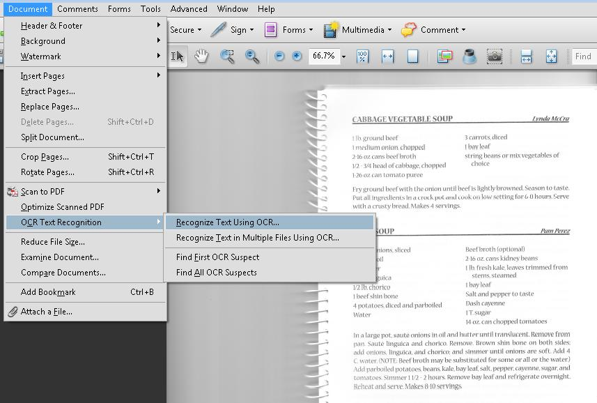 A scanned page in Acrobat Pro showing soup recipes.