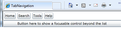 Screen shot of a focusable control beyond a list of buttons