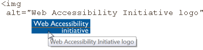 image of logo; HTML markup img alt='Web Accessibility Initiative logo'; popup with text @@