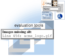 illustation of evaluation tool listing images missing alt