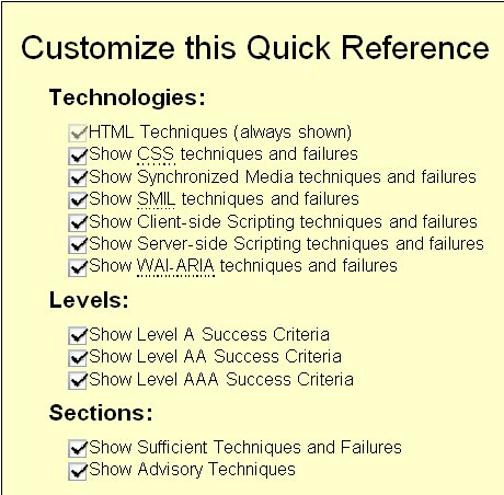 Screen shot of the Customization Tool for the Quick Reference with check boxes to choose various technologies, levels and sections