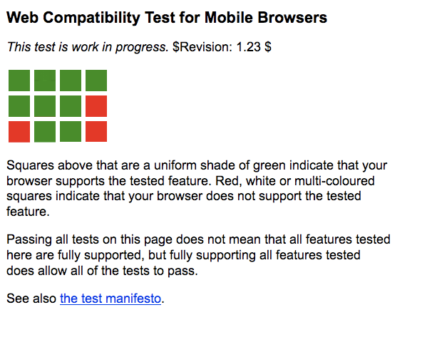 Gallery of screenshots for the first version of Web Compatibility