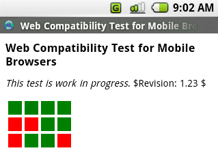 Screenshot of the test in Android webkit-based emulator