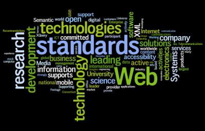 Algunas palabras frecuentes en los Testimonios de los Miembros del W3C. Principales palabras clave incluidas en orden: Web, estándares, tecnologías, investigación, desarrollo, liderazgo, sistemas, ciencia, abierto, información, compañía, XML, negocio