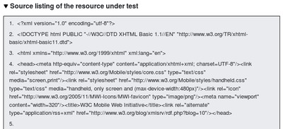 The mobileOK report now includes the source of the markup that was tested