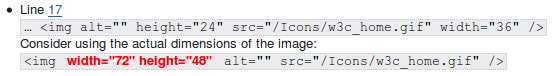 Example of a failure message with a code extract linked to a line position in the source code and a proposed fix for the img tag