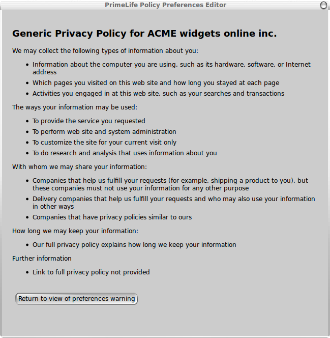 Generic Privacy Policy >> Machine Interpretable Privacy Policies A Fresh Take On P3p