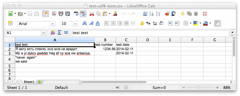 LibreOffice compatibility tests - CSV on the Web Working