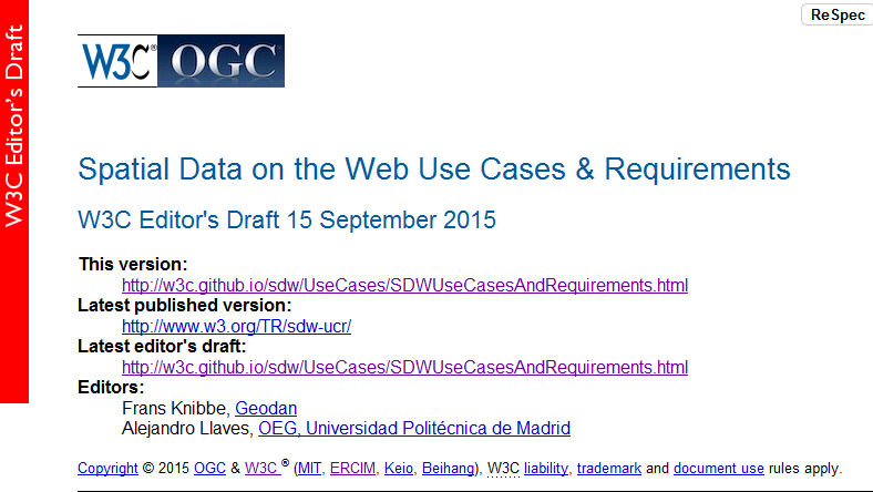 Spatial Data on the Web Use Cases & Requirements