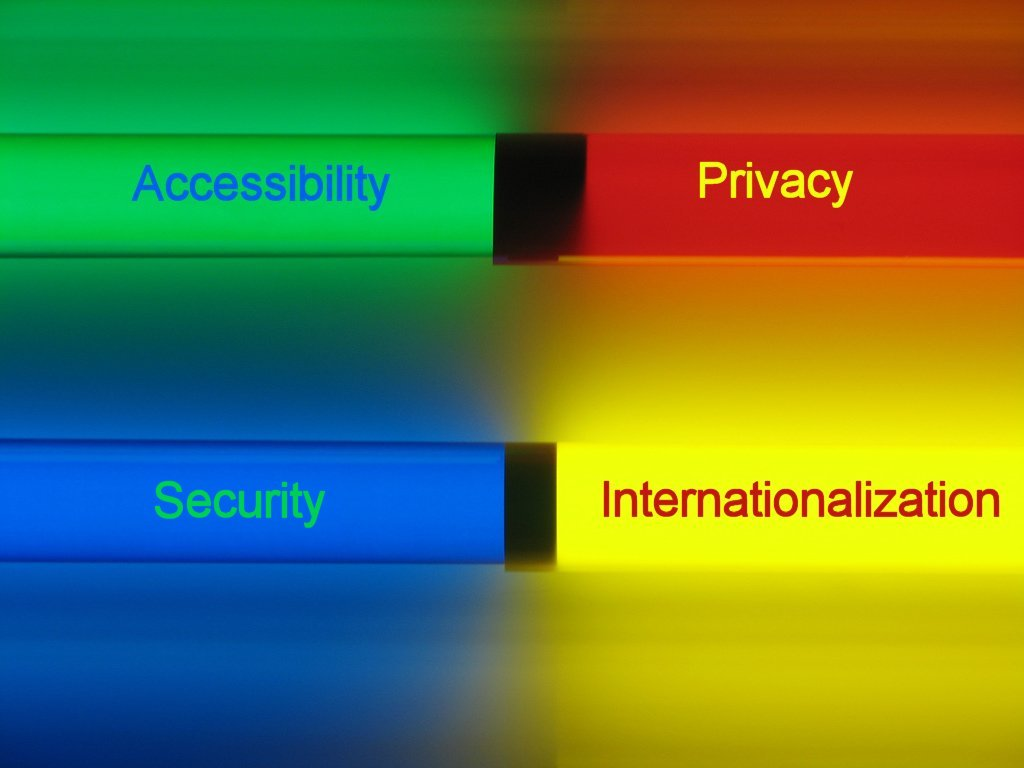 A series of brightly colour bars, annotated withthe words Internationalization, Accessibility, Trust and Privacy