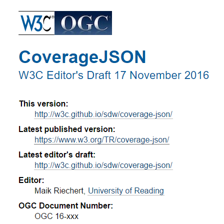 Overview of the CoverageJSON format