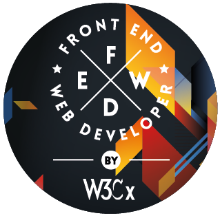 The W3Cx Front-End Web Developer program's visual, as a rounded badge.