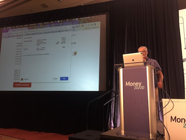 W3C Session on streamlined payments, with Michel Weksler demonstrating streamlined payments on Airbnb using Chrome.