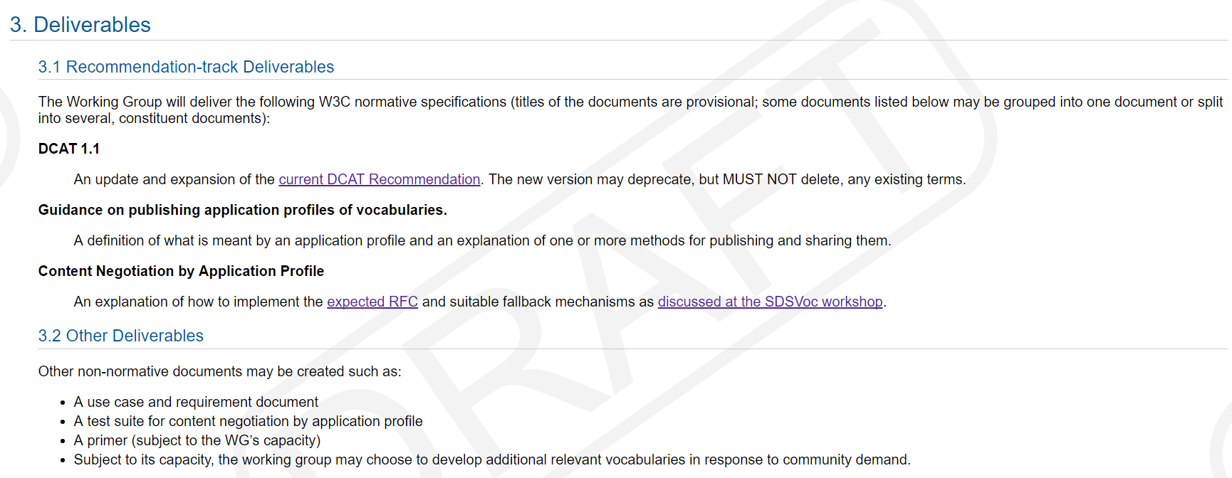 Partial screenshot of the Dataset Exchange WG charter, showing the deliverables