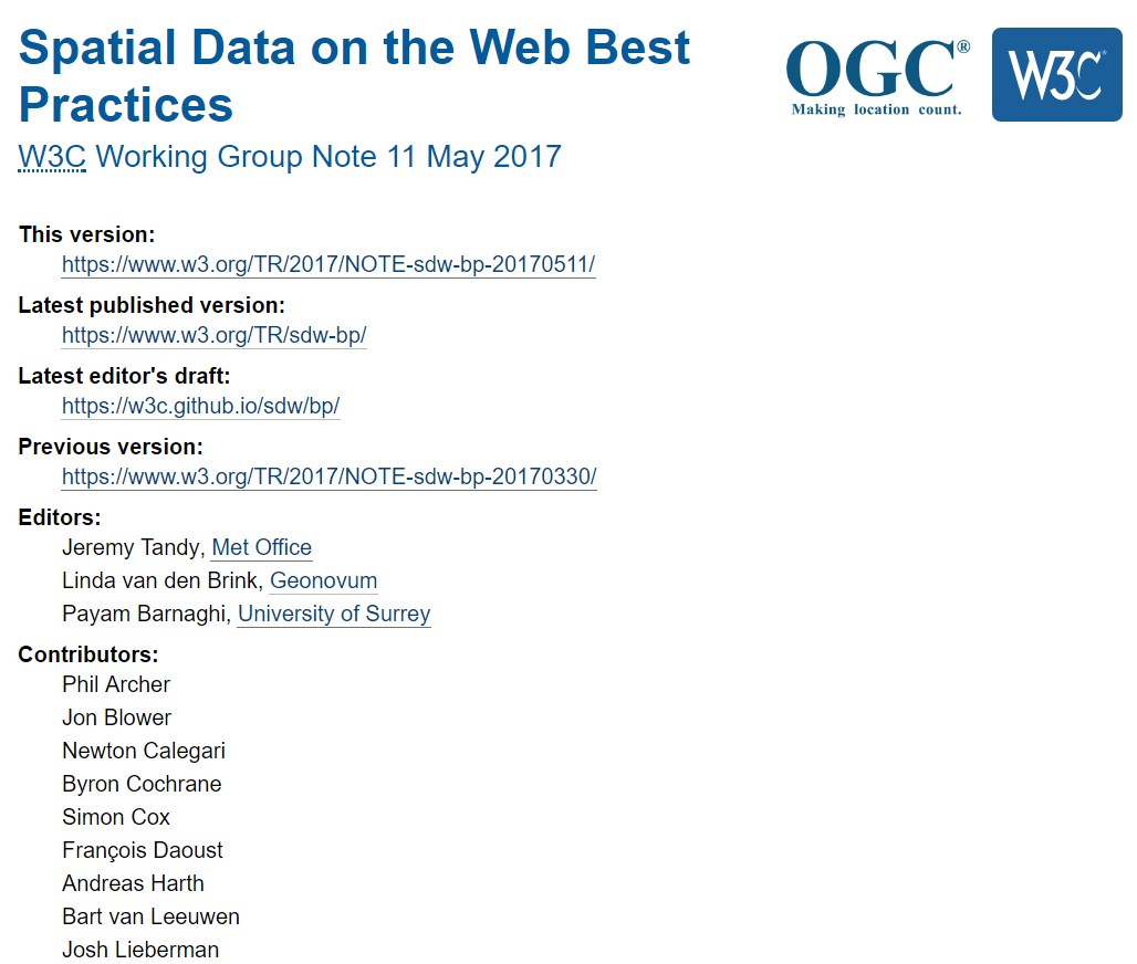 Spatial Data on the Web Best Practices