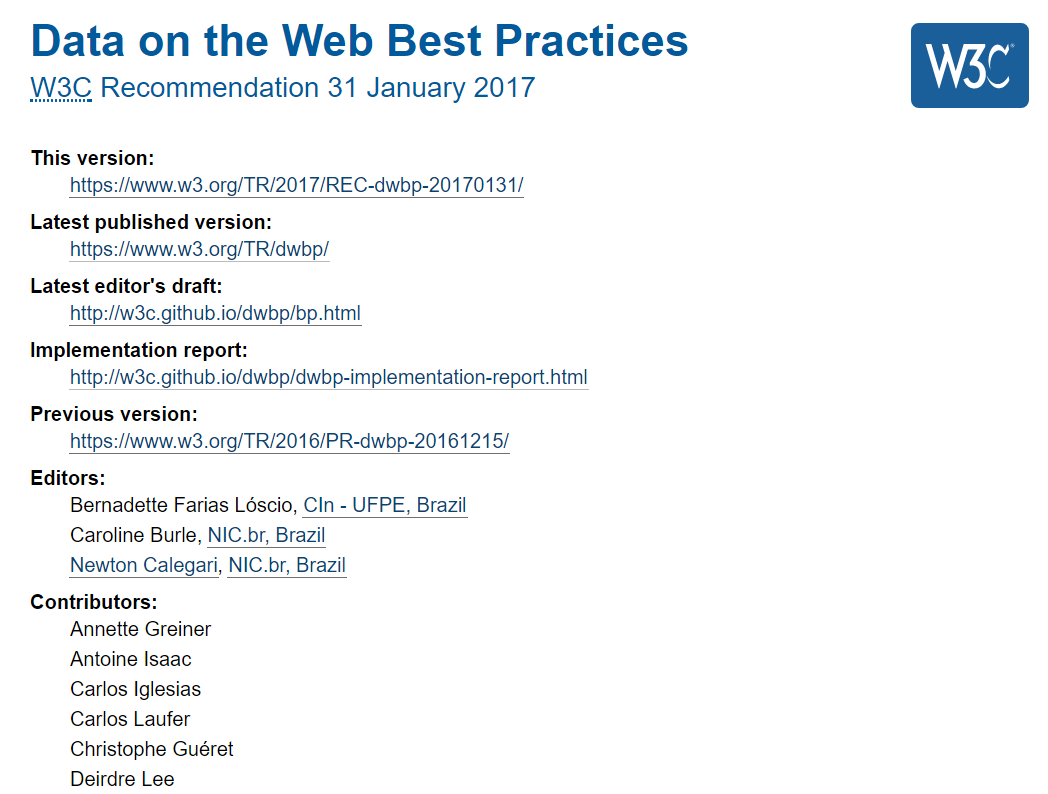 Data on the Web Best Practices