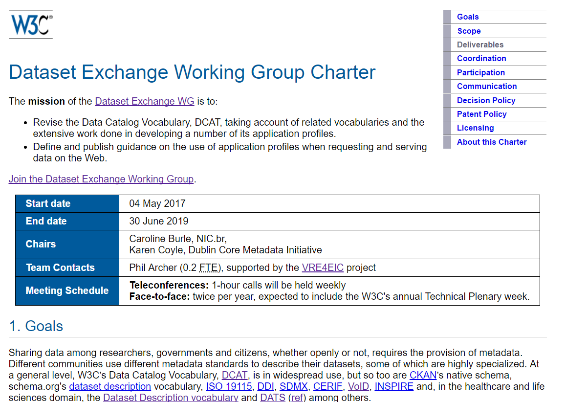 Partial screenshot of the Dataset Exchange WG charter, showing the title and mission
