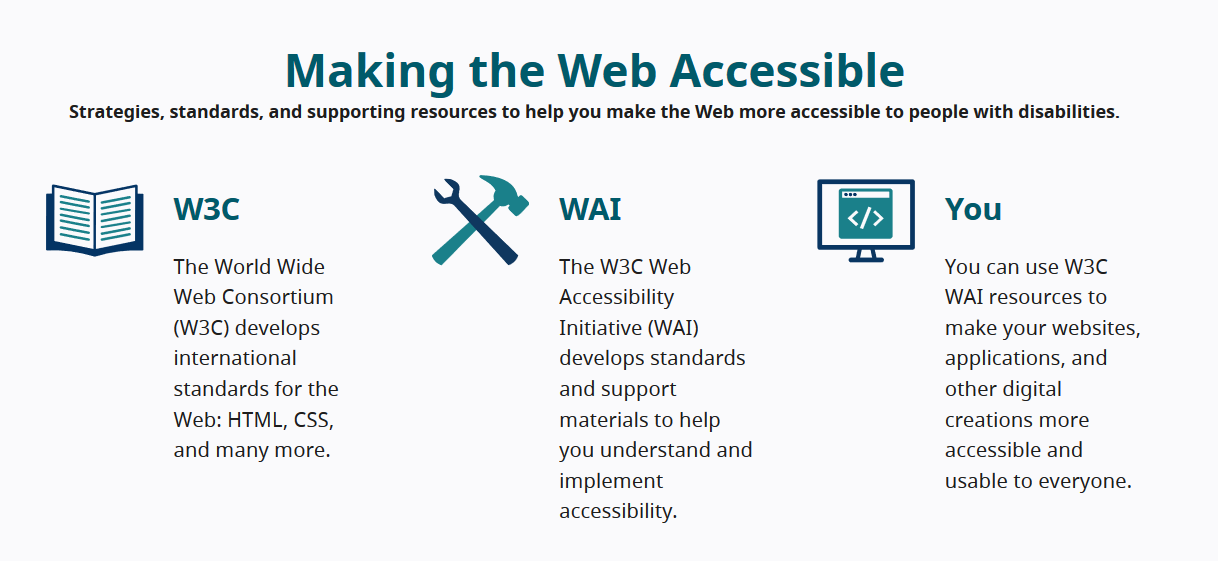 screen shot of redesign WAI website