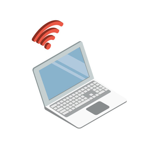 icon of a laptop and wifi signal