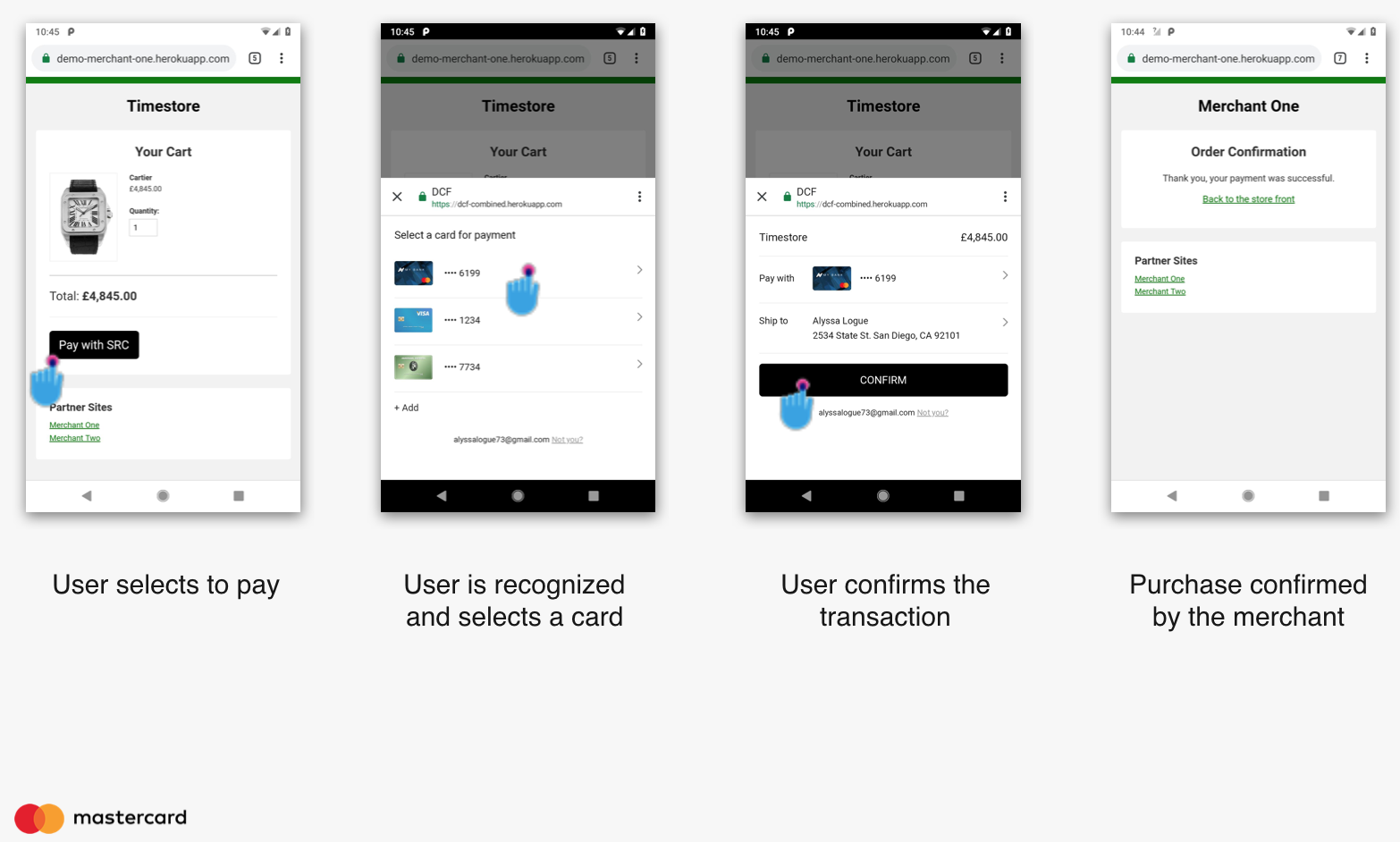 Example user experience for an SRC payment method