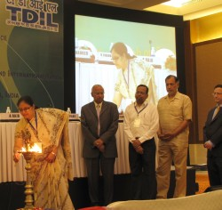 W3C India Office manager Swaran Lata lighting the lamp at the launch ceremony