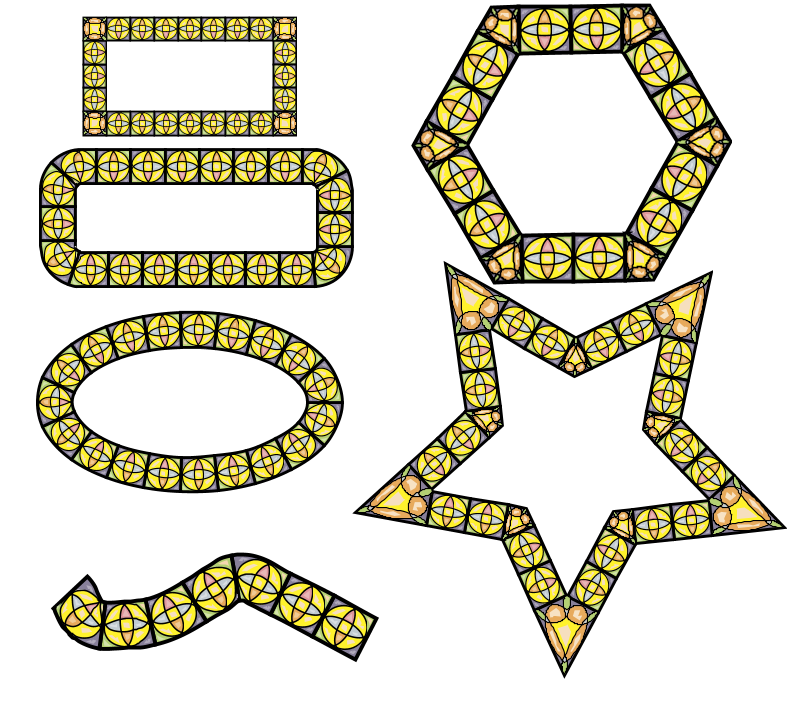 Example how tiling is used on different shapes