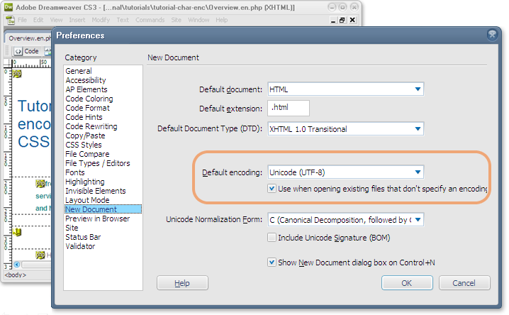 DreamWeaveru0027s new document preferences allow you to specify a default encoding.  sc 1 st  World Wide Web Consortium & Choosing u0026 applying a character encoding