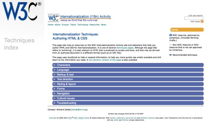 W3C Internationalization & Text Layout Requirements