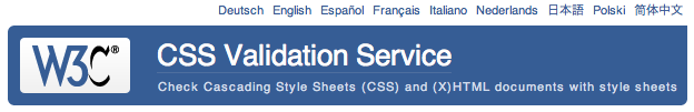screenshot of the new CSS validator UI for language selection