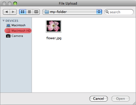 A File picker control in the File Upload state.