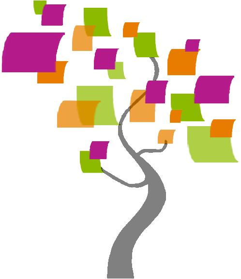[Picture of a stylized tree with colorful, square leaves]