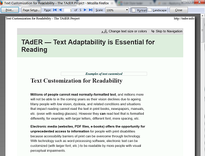 Printing Customized Text - Low Vision Accessibility Task Force