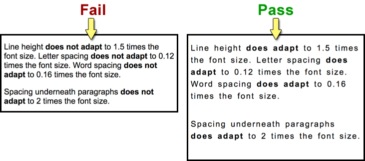 Spacing Fail/Pass side-by-side comparison
