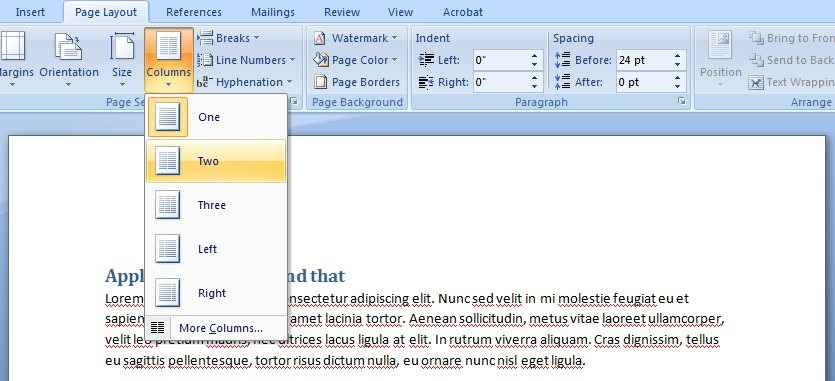 Image showing the Columns tool in Word. Two is selected to lay out the page in 2 columns.