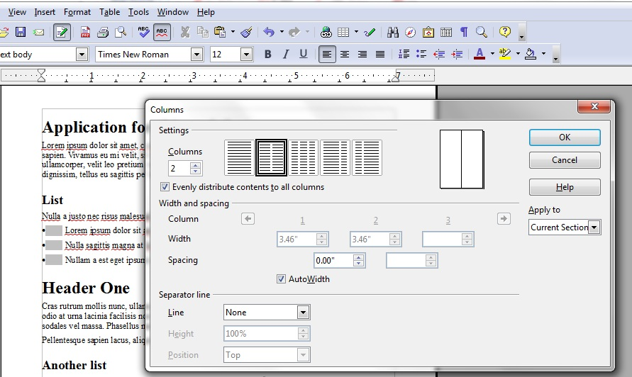 Image showing the Columns tool in OpenOffice.org Writer. Two is selected to lay out the page in 2 columns.