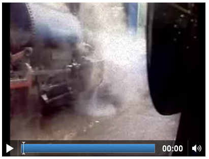 Screenshot of a video with a blue steamtrain