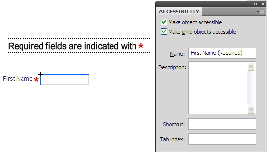 Using the Accessibility panel to indicate a form control as being   required