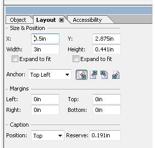 スクリーンショット:レイアウトパレットと新しいキャプションの位置