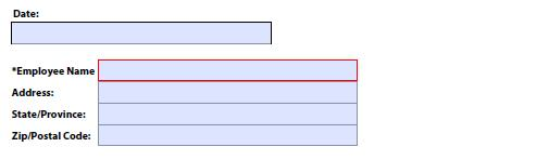 A form label repositioned above the field; also shown are default label positions to the left of text fields.