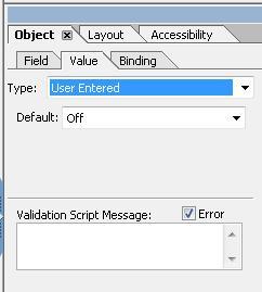 LiveCycle Designer オブジェクトパレットの「値」タブのオプション