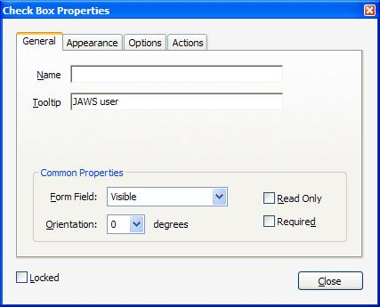 General tab on the Check Box Properties dialog, showing name and tool tip fields for a check box
