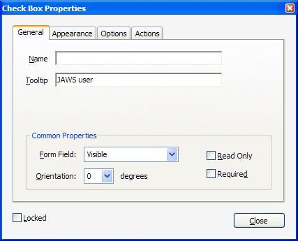 スクリーンショット:チェックボックスの「名前」フィールドと「ツールヒント」フィールドが表示されている、[チェックボックスのプロパティ]ダイアログボックスの[一般]タブ