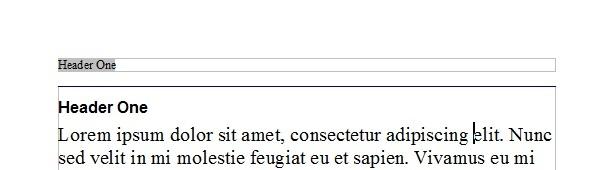 スクリーンショット:OpenOffice.org Writer 文書内のページヘッダー
