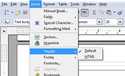 Header and Footer tools in OpenOffice.org Writer.