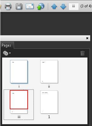 スクリーンショット: i、ii、iii、1 という番号が付いたページが示されている Adobe Acrobat Pro のページパネル。ページナビゲーションツールバーでは、3 ページ目に対して iii が表示されている。相対的なページ位置も「(3/4)」として表示されている
