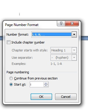 The Page Number Format dialog in Word, specifying lowercase Roman page numbering.