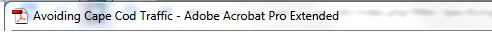 Image of the Adobe Acrobat Pro title bar with the title of the document displayed.